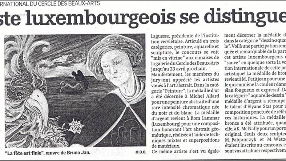 """Un artiste luxembourgeois se distingue (dans """"Le Jour"""")"""
