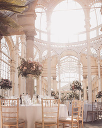 Pink and white tall centrepieces at Syon
