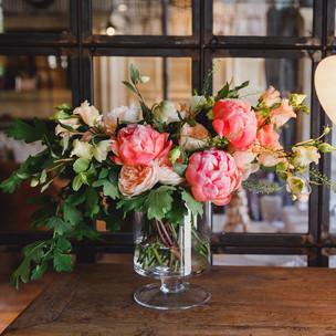 Spring peony vase arrangement