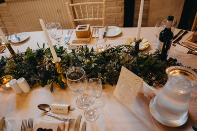 Table styling at winter wedding