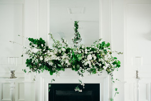 White and green mantelpiece design