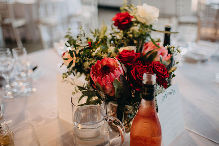 Blush and red centrepieces
