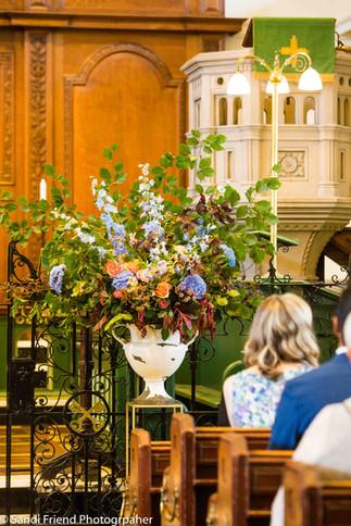 Autumn urn arrangement at St Peter's Hammersmith