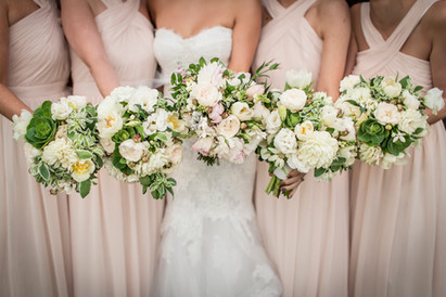 Pale pink tulip bouquets