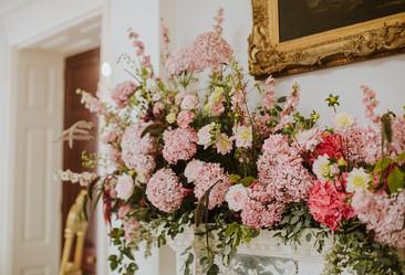 Pink mantelpiece arrangement
