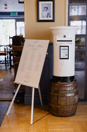 Bespoke table plan and post box for hire