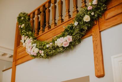 Foliage and rose garland