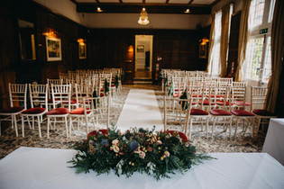 registry table arrangement for winter wedding at Cantley House Hotel