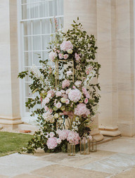 Pink and white floral sculpture