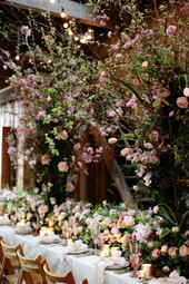 spring blossom table trees and garland