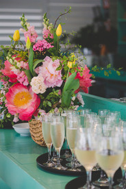 Bright summer peony bar arrangement