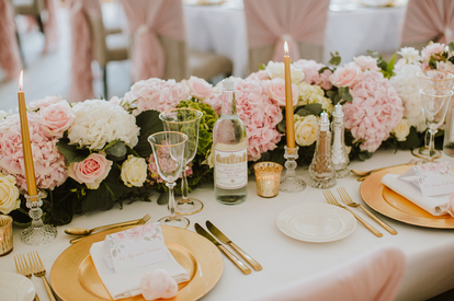 Pink garland with crystal and gold accents