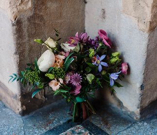 Garden-style jewel toned bouquet