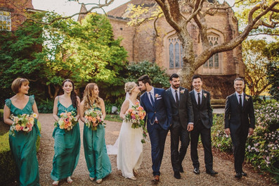 Bright spring bouquets with bridesmaids in teal silk