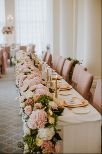 Pink, gold and white head table garland