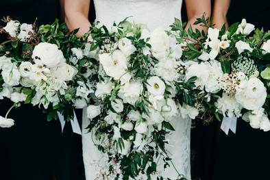 White and green garden-style bouquets