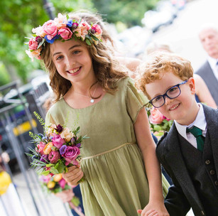 Bright autumn flower crown and posy