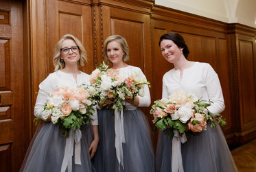 Peach and white spring bouquets