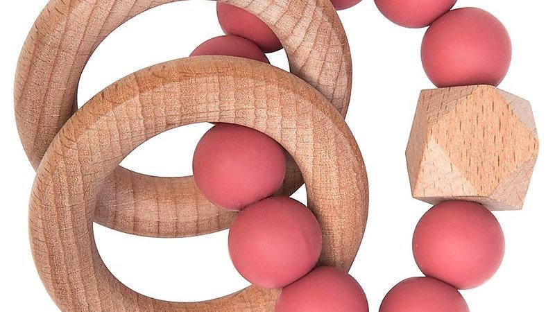 Nibbling  Massaggiagengive/Sonaglio 2-in-1 - Melograno - Legno Naturale e Silico