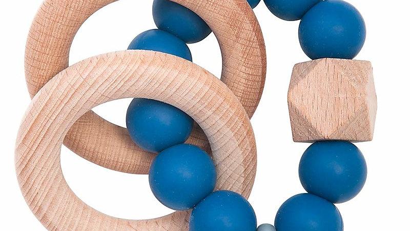 Nibbling  Massaggiagengive/Sonaglio 2-in-1 - Blu - Legno Naturale e Silicone Ali