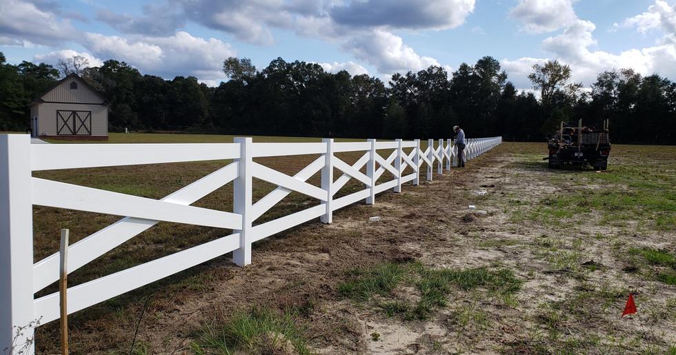 White Vinyl Crossbuck Fence
