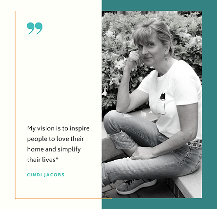 Cindi in a garden with a vision statement