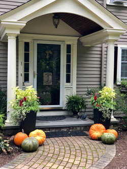 Fall front entry with flowers