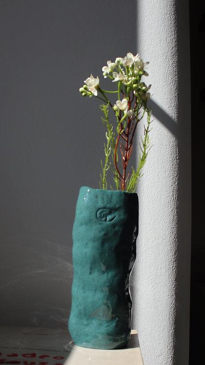 Blue oil vase