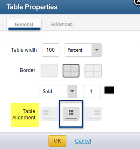 Table Alignment