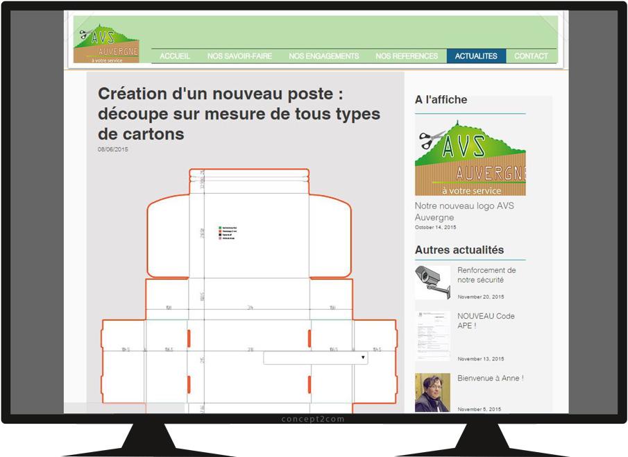 Vue écran site vitrine AVS Auvergne