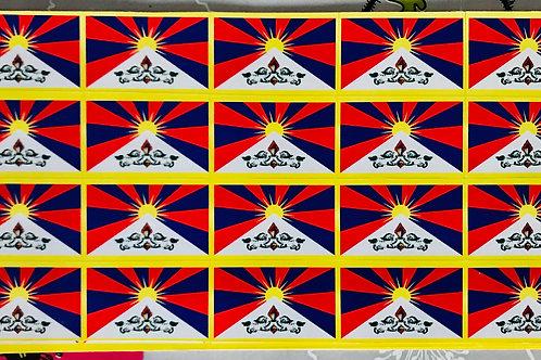 20 vignettes autocollants drapeaux tibétains