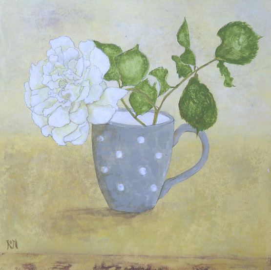 Grey Spotty Cup with Rose