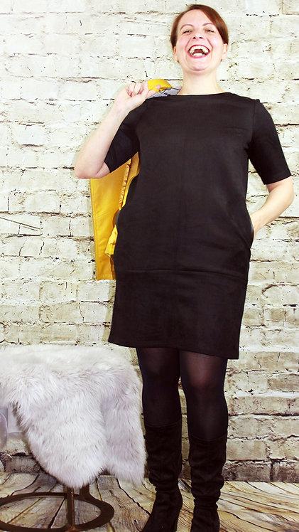 Oui T-Shirt Kleid in Wildlederoptik