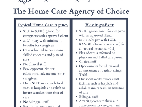 What's the Difference? Blessings4Ever vs. the Typical Home Care Agency