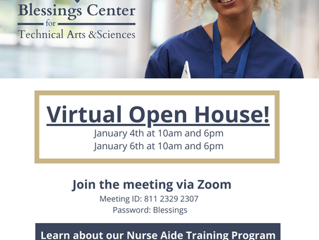 Blessings Center for Technical Arts & Sciences Offers Virtual Open Houses for Prospective Students!