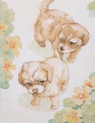 0906_ナスタチウムと仔犬「なかよし」.jpg
