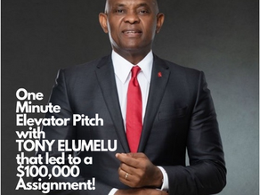 One Minute Elevator Pitch with TONY ELUMELU that led to a $100,000 Assignment!