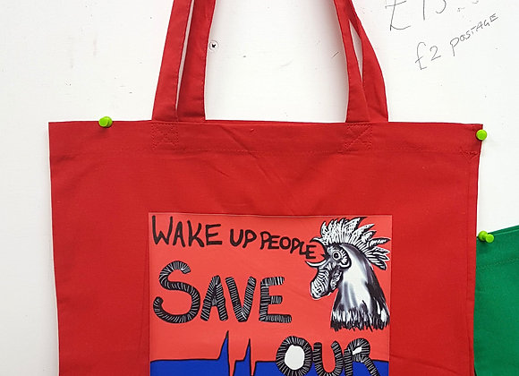 Wake up People red cotton tote bag