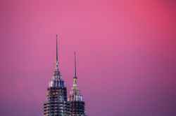 Twin Towers Pink Sky