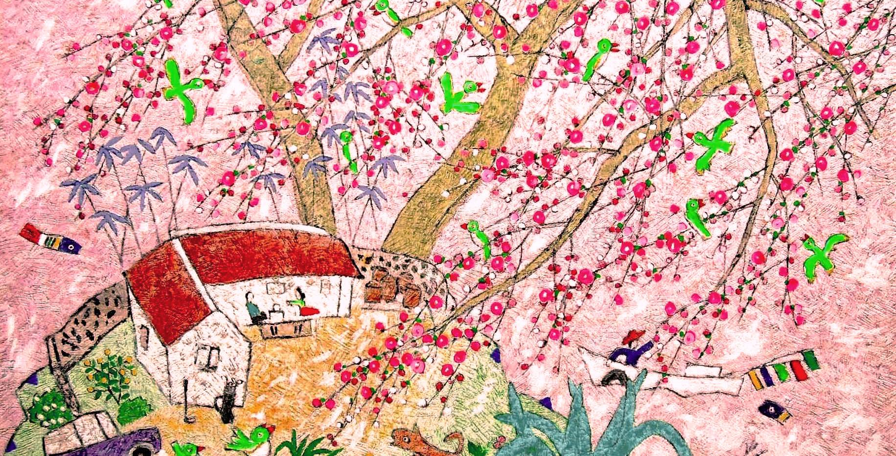 이왈종 - Green Birds on Pink(L), 64x84(74x9