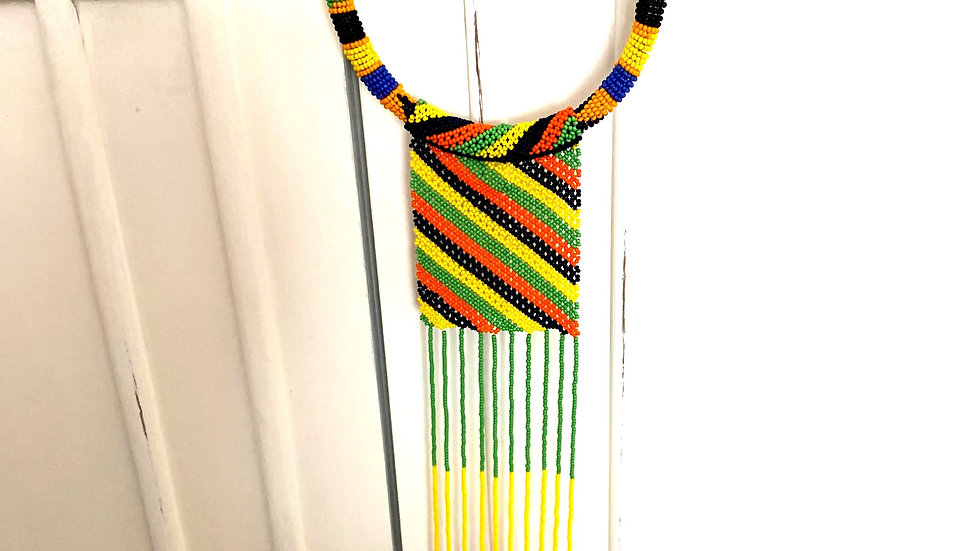 Necklace with Maasai crochet pattern red/yellow