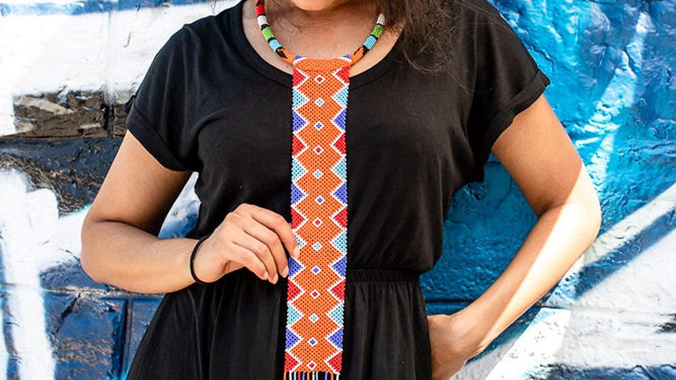 Collier et boucles d'oreilles en crochet Massai