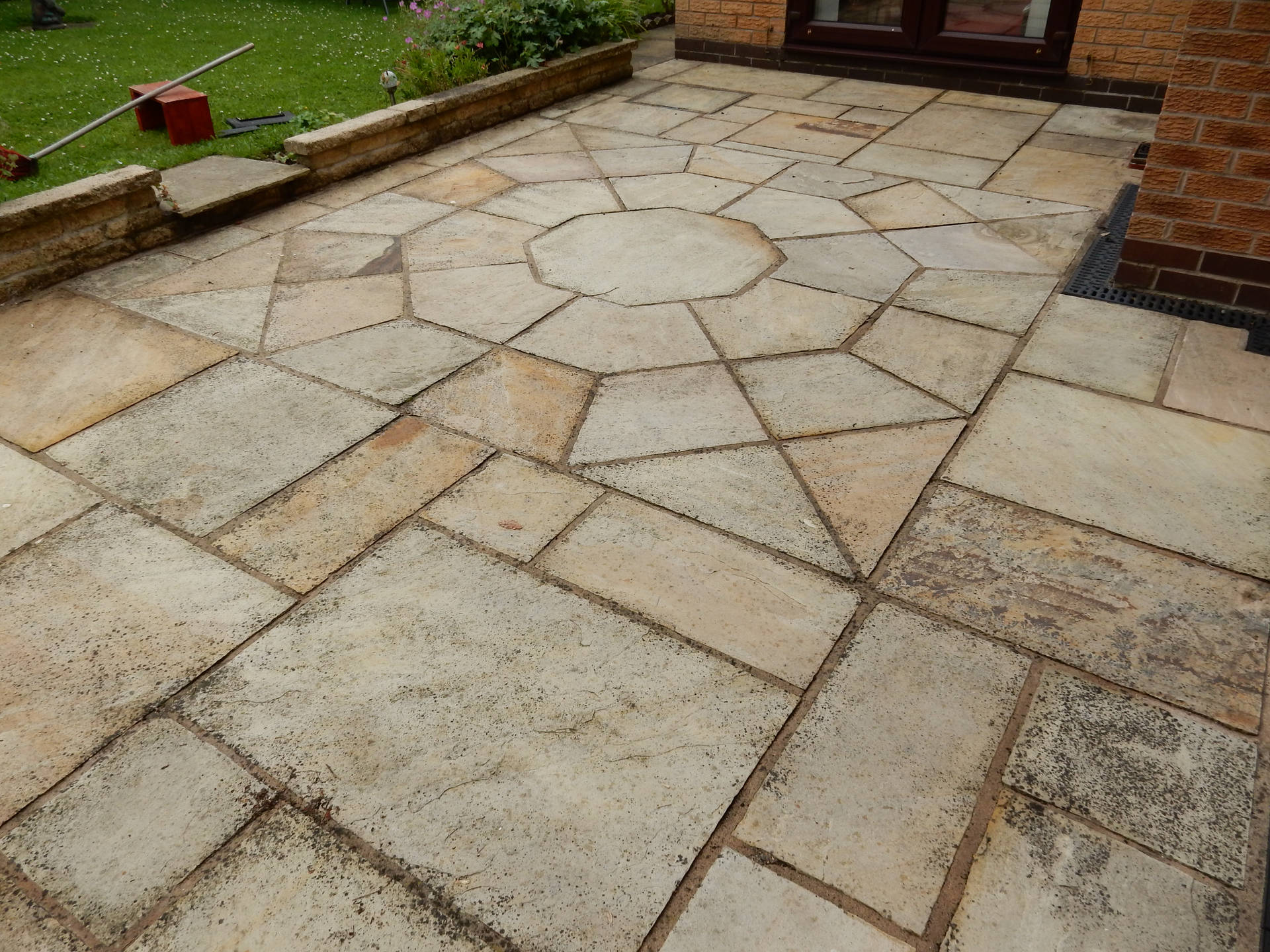 Indian Sandstone Patio Before Cleaning