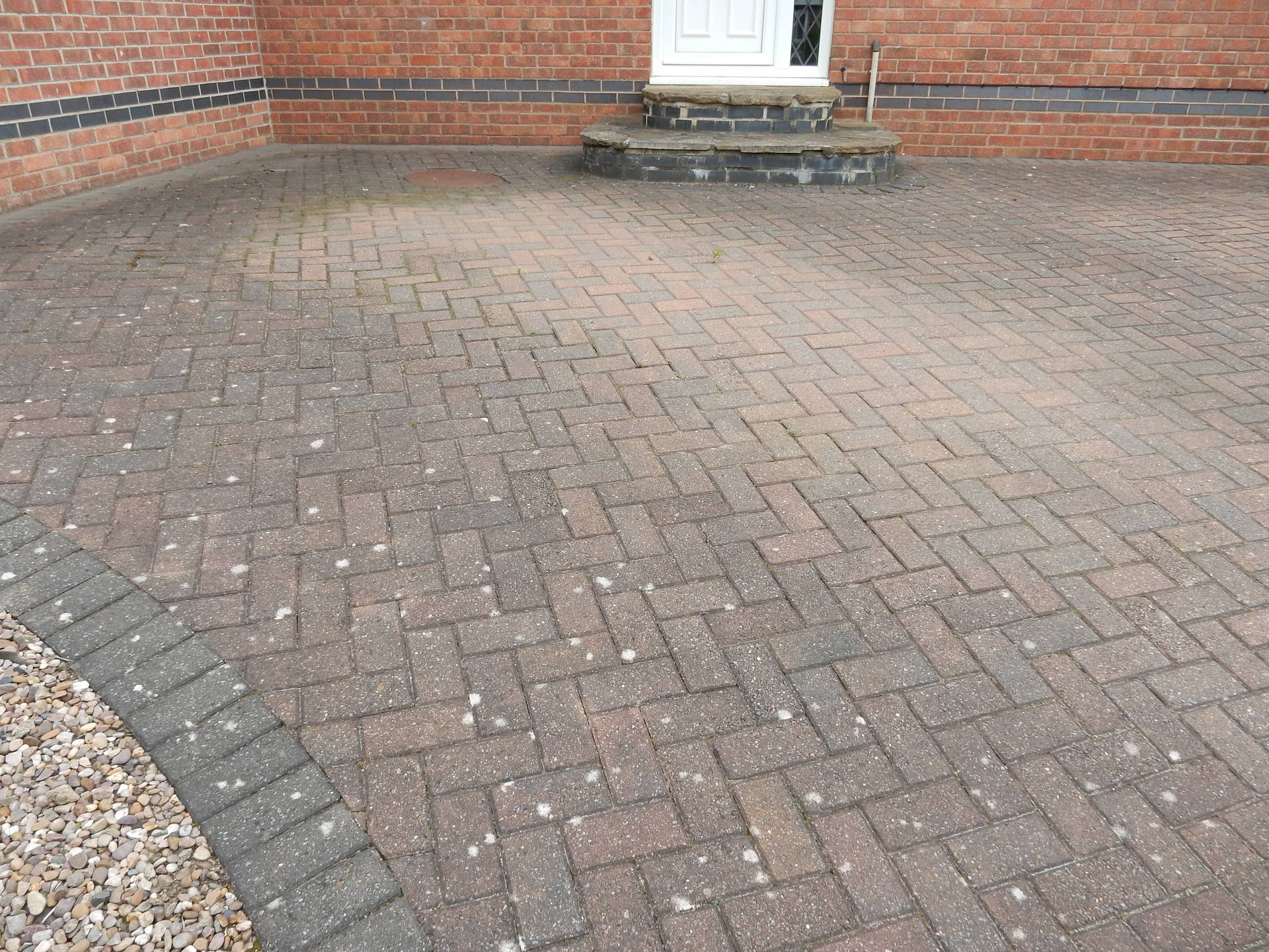 Block Paving Drive Before Cleaning