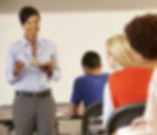 A teacher leads a training