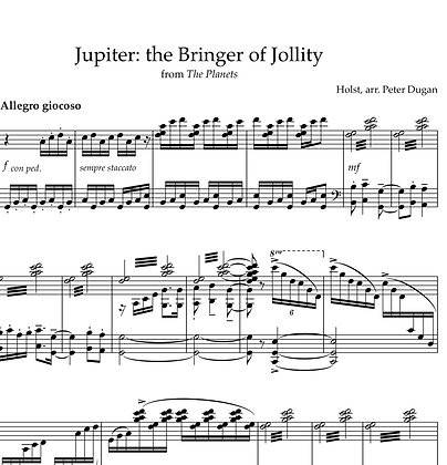 Jupiter from The Planets, for solo piano
