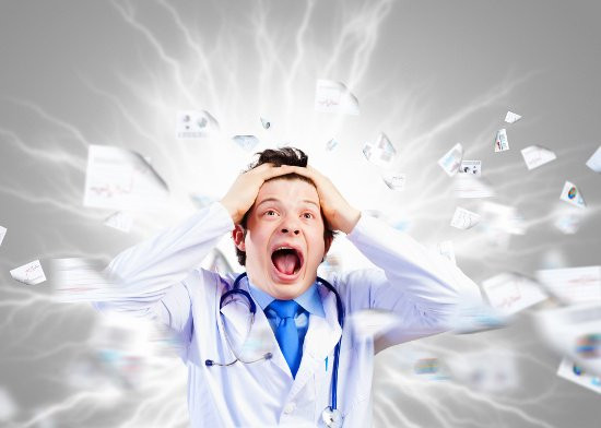 Doctor in a Panic Surrounded by Paper