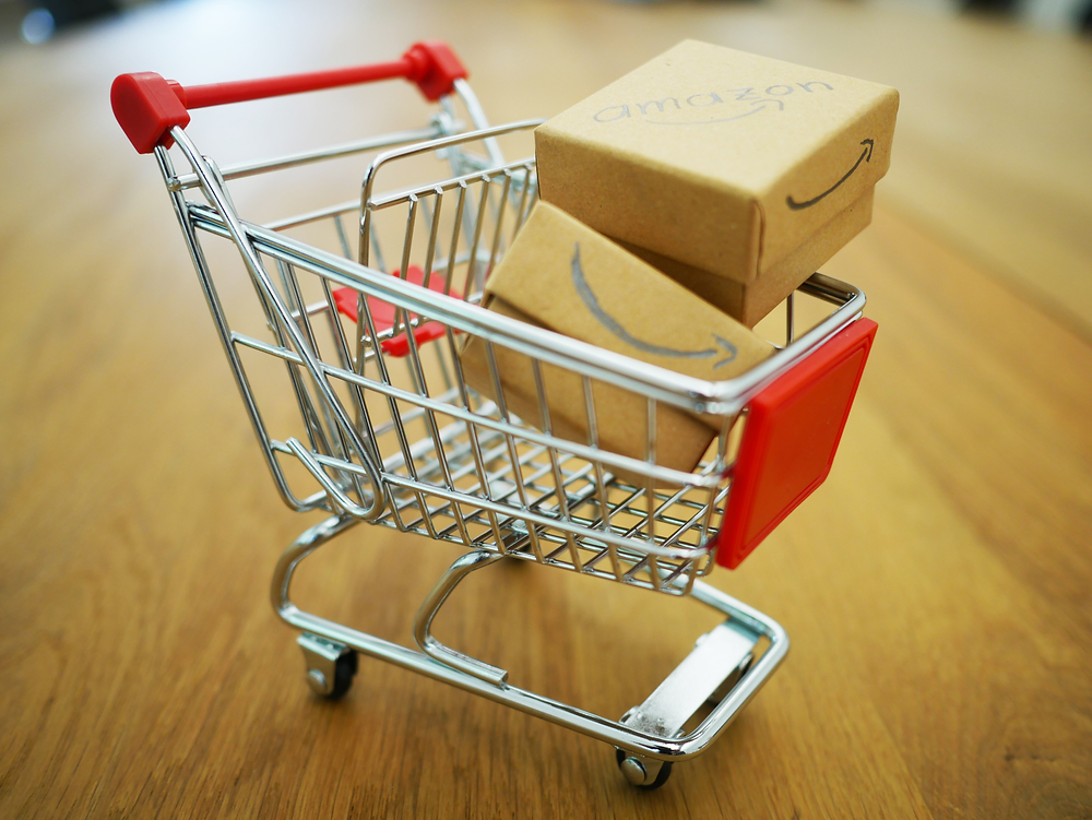 Shopping Cart with Amazon Boxes