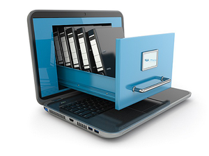 Image of Filing Cabinet Drawer Being Pulled Out from Laptop Screen