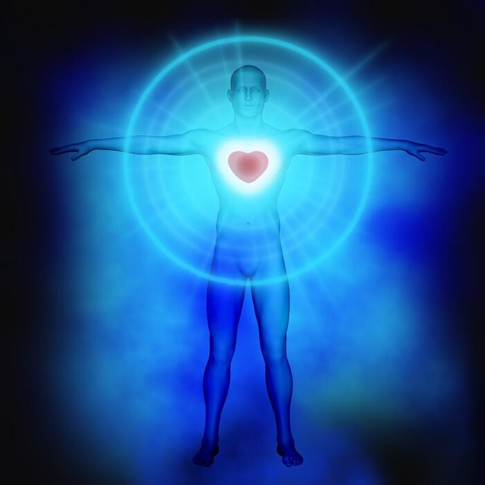 Male Body with Glowing Heart